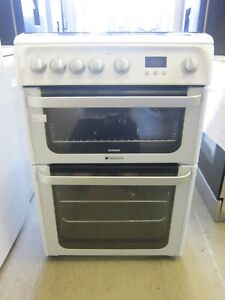 Hotpoint Ultima HUG61P White Gas Cooker Double Oven Self-Clean Lining (5434)