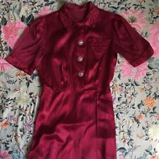 35964b1d73 1930s 40s Raspberry Red Satin Wrap Dress Glass Nipple Button Chest Pocket  Floral