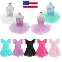 US Kids Girls Ballerina Costume Skirt Ballet Dance Leotard Tutu Dress Dancewear