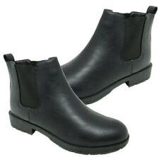 Womens Chix Matt Black School Chelsea Dealer Low Heel Ankle Boots Size 8/41