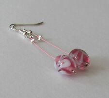 Handmade Fashion Illusion Pretty Pink & White Swirl Glass Bead Dangle Earrings