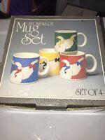 Mervyn's Stoneware Mugs Set Of 4 In Box Mother Goose Japan Made 1980s Vintage
