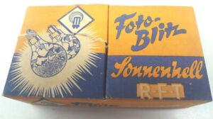 Sonnenhell R.F.T, Fotoblitz, F40 E 14, Blitzbirnen m. Einschraubgewinde aus 1956