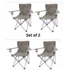 Set of 2 Quad Folding Camping Chair 4 Pieces Collapsible Chairs with Arm Rest