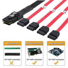 Mini SAS SFF-8087 36p to 4 SATA 7p HDD Hard Drive Splitter Breakout Cable Red 1M
