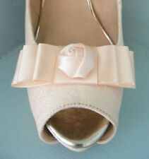 2 Peach Bow Clips for Shoes with Satin Flower Centre