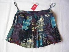 Rene Derhy blue skirt with multicoloured motifs UK size L Free Postage