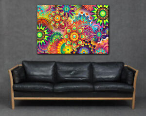 Vibrant Bright Psychedelic Colourful Flowers Rainbow Abstract Canvas Print Art