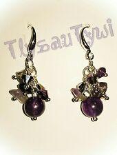 Amethyst Gemstone & Crystal Cluster Earrings...Silver Plated...Purples