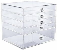 "Cq acrylic 5 Drawer Clear Makeup Organizer,10"" X 9.5"" X 9"" Pack of 1"