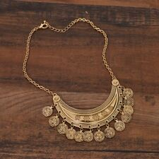 F21 Vtg Style 70s Boho Hippie Gypsy India Gold Coin Bib Collar Pendant Necklace