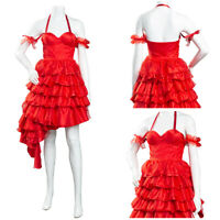 The Suicide Squad 2021 Harley Quinn Cosplay Costume Red Dress Carnival Outfit