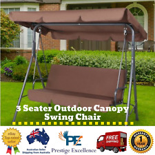 New 3 Seater Outdoor Canopy Hanging Swing Chair Patio Bench Garden Seat - Coffee