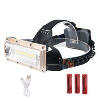 COB LED Wide angle Headlamp USB Charging 3 Modes Head Torch Front Flashlight