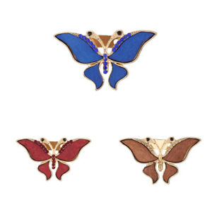 Popular Design Alloy Butterfly Inlaid Wood Brooch for Sweet Ladies Jewelry Gifts