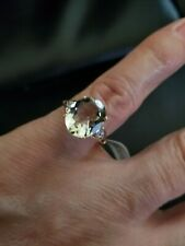 4.14 CT GREEN AMETHYST & DIAMOND 10KT SOLID YELLOW GOLD RING SIZE 7