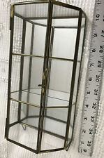 "9.5""  VTG Brass Curio Glass Shelf Hexagonal Wall OR Table Top Cabinet Display"