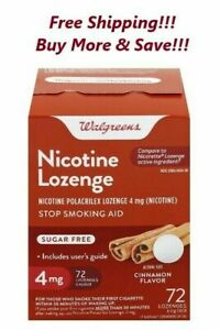 Walgreens Nicotine Lozenge 4 mg 72 Ct. Cinnamon Flavor Compared Nicorette