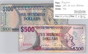 2 BILLETS GUYANE - 100 ET 500 DOLLARS - NON DATE