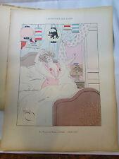 ancienne lithographie tire de livre erotique nue humour gerbault ville de paris