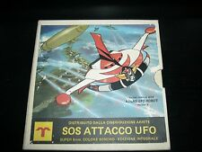 SOS ATTACCO UFO SUPER8 8mm - FILM GOLDRAKE -ARIETE COVER BOX BIANCA-VINTAGE RARO