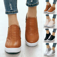 Women Zipper Wedge Trainers Sneakers Ladies Casual Slip On Pumps Shoes Size6.5-9