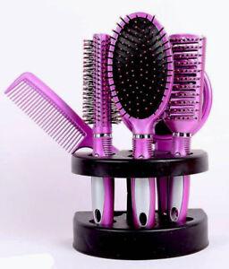 5 teilig Frauen Haarbürste Set Massage Kamm Halter mit Spiegel & Ständer - Pink