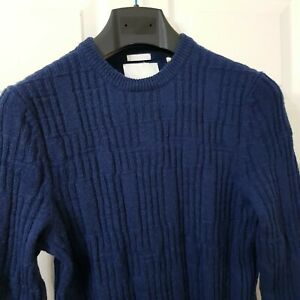 Lyle & Scott Mens Pure Lambswool Jumper Size S Navy Textured