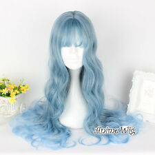 65CM Long Lolita Women Light Blue Mixed Gray Curly Cosplay Party Wig + Wig Cap