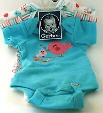 GERBER BABY GIRLS 3-Pack Aqua Birds Onesies Bodysuits Size NB; Baby Shower Gift