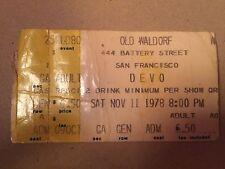 Devo concert ticket stub old waldorf san francisco nov 11 1978 8pm