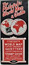 THE PHILATELIC WORLD MAP & STAMP GUIDE 1950s VINTAGE STAMP COLLECTING NEWS