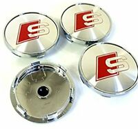 S Logo Audi S Line Wheel Alloy Center Caps Set Of 4 , Hub Centre Cap Badges 60mm