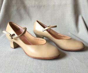 Capezio DanceMaker Women's MaryJane Tan  Leather Dance Ballroom Shoes Size 6.5 M