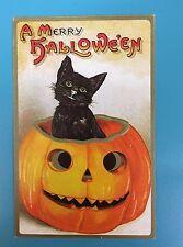 Unused Reproduction Halloween Postcard; Black cat; Jack O' Lantern; Embossed