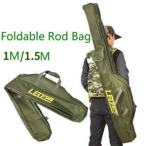 Canvas Portable Folding Fishing Rod Reel Bag Gear Tackle Bag Case Tool Storage