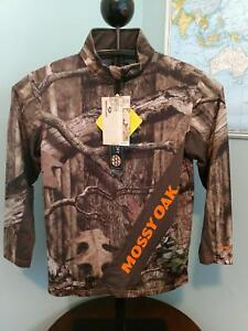 MOSSY OAK BREAK UP INFINITY BOYS 1/4 ZIP PULLOVER LARGE 10-12 SCENT BLOCK HUNT