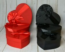 Small Heart Shape Florist Hat Boxes Black Red Pink Lilac x 3 Flowers Gifts Vase