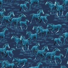 "1 yard  ""Thunder Ridge"" Horses Dark Blue Allover  Fabric"