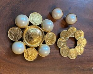 GRAZIANO Napoleon Empereur Emperor Gold Tone Coin Brooch Pin Earrings Set