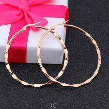 Women Stainless Steel Rose Gold Luxury 60 mm Round Concave-convex Hoop Earrings