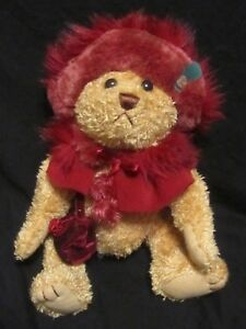 """BRASS BUTTON BEARS COLLECTION  RUBY 13"""" PLUSH JOINTED  BEAR OF HAPPINESS"""