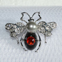 Art Deco Bee Brooch Red Diamante Insect Fly Crystal Vintage Style Broach Gift UK