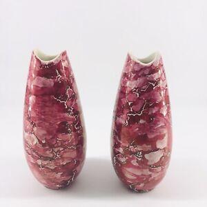 "Vintage MCM McCoy Pottery Bud Vase Pair Red Pink Cascade Glaze 6"""