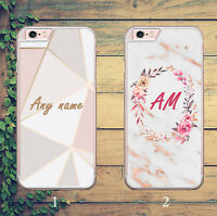 MARBLE MONOGRAM INITIAL FLORAL PERSONAL GOLD PHONE CASE FOR IPHONE AND SAMSUNG