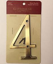 "5 in GATEHOUSE Door House Address Sign Street Number 4 Antique Brass 5"" 12.5 cm"