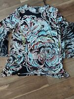Ali Miles Size Large Bell Sleeve Blouse Floral nwot