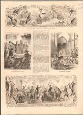Cruciféraire Crucifer Saint-Hubert Chasse Chien Hunting Dog Cerf OLD PRINT 1867