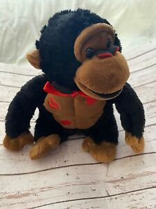 Vintage Dan Dee Plush Gorilla Red Bow Red Lips On Chest