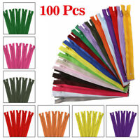 100Pcs 9 Inch Nylon Coil Zippers Bulk for Sewing Crafters Assorted 20 Colors DIY